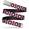 Chrome Buckle Web Belt - Captain America Shield Repeat Navy Webbing