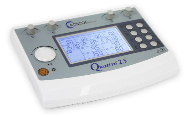 Quattro 2.5 4-Channel Clinical Stim Unit by Roscoe Medical with electrodes ( 50 qty)