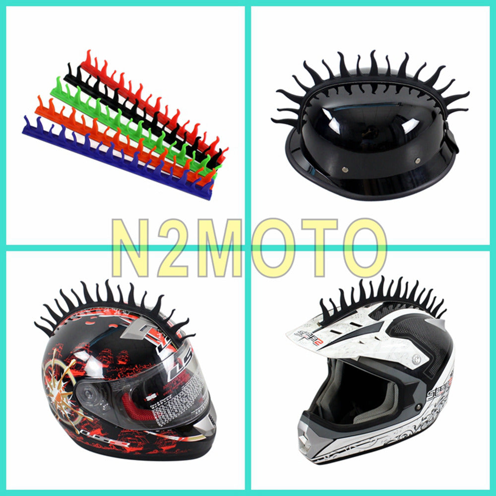 5 colors motorcycle helmet mohawk spike 3m sticker fire flame capacete rubber strip stickers black red