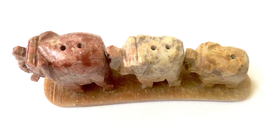 Three Elephants Incense Holder 4""