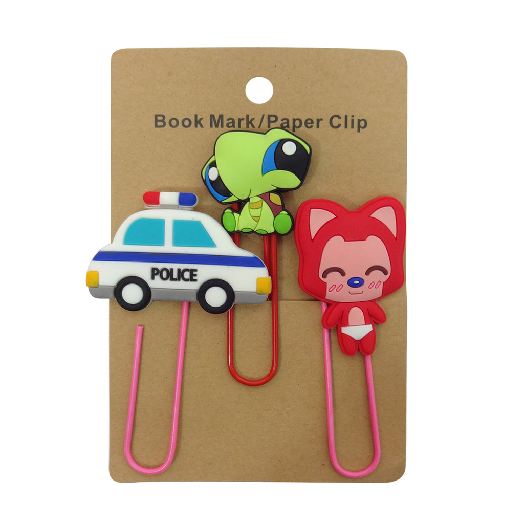 Police Car Mixed Design Paper Clip - Set of 3