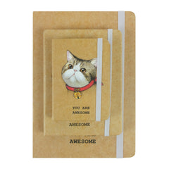 Cute Cat Red Heart Bell Brown - Set of 3