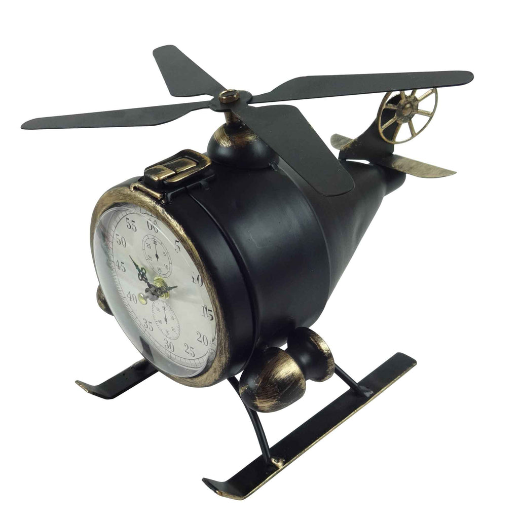 Helicopter Table Clock - Black