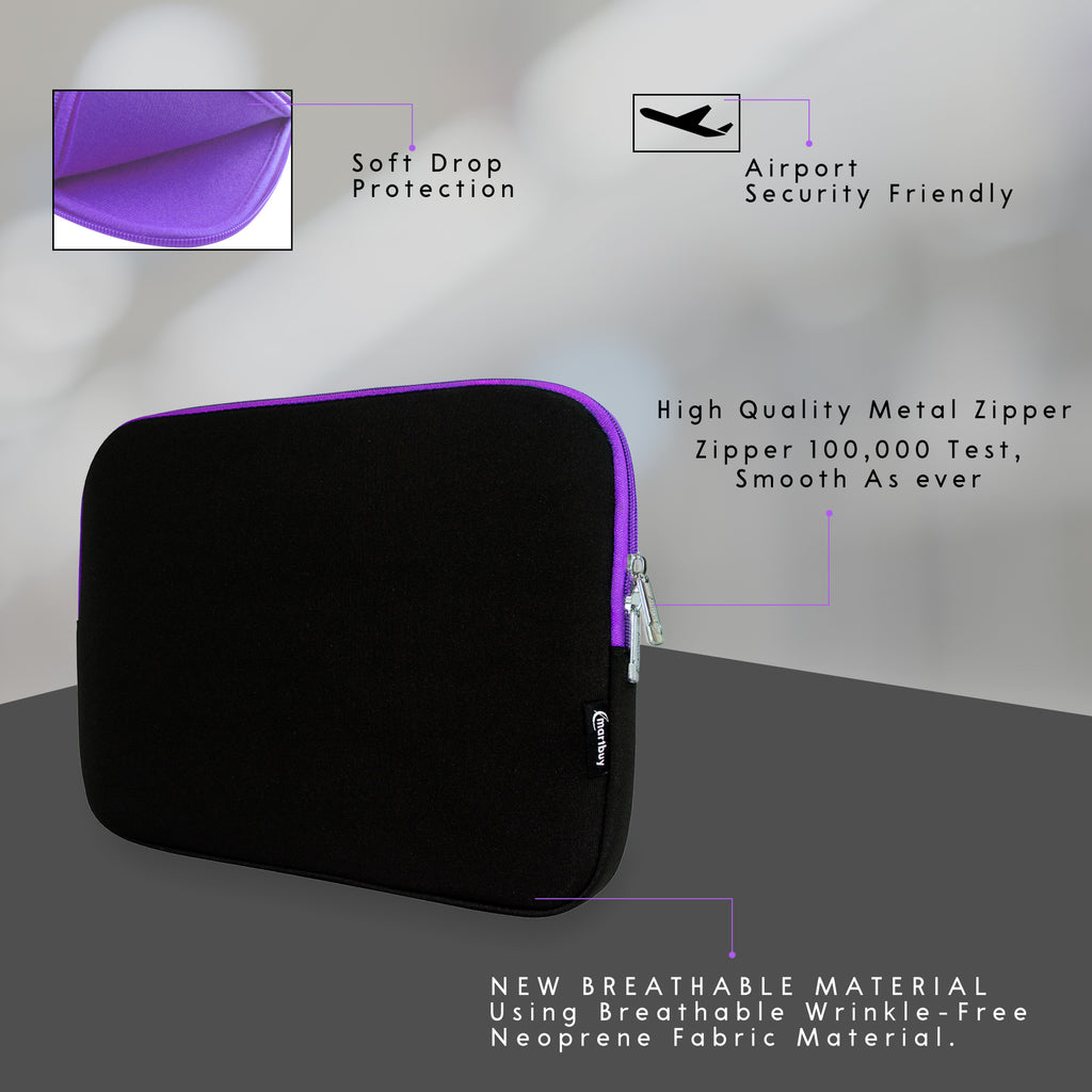 Universal Neoprene Zip Case - Black / Purple