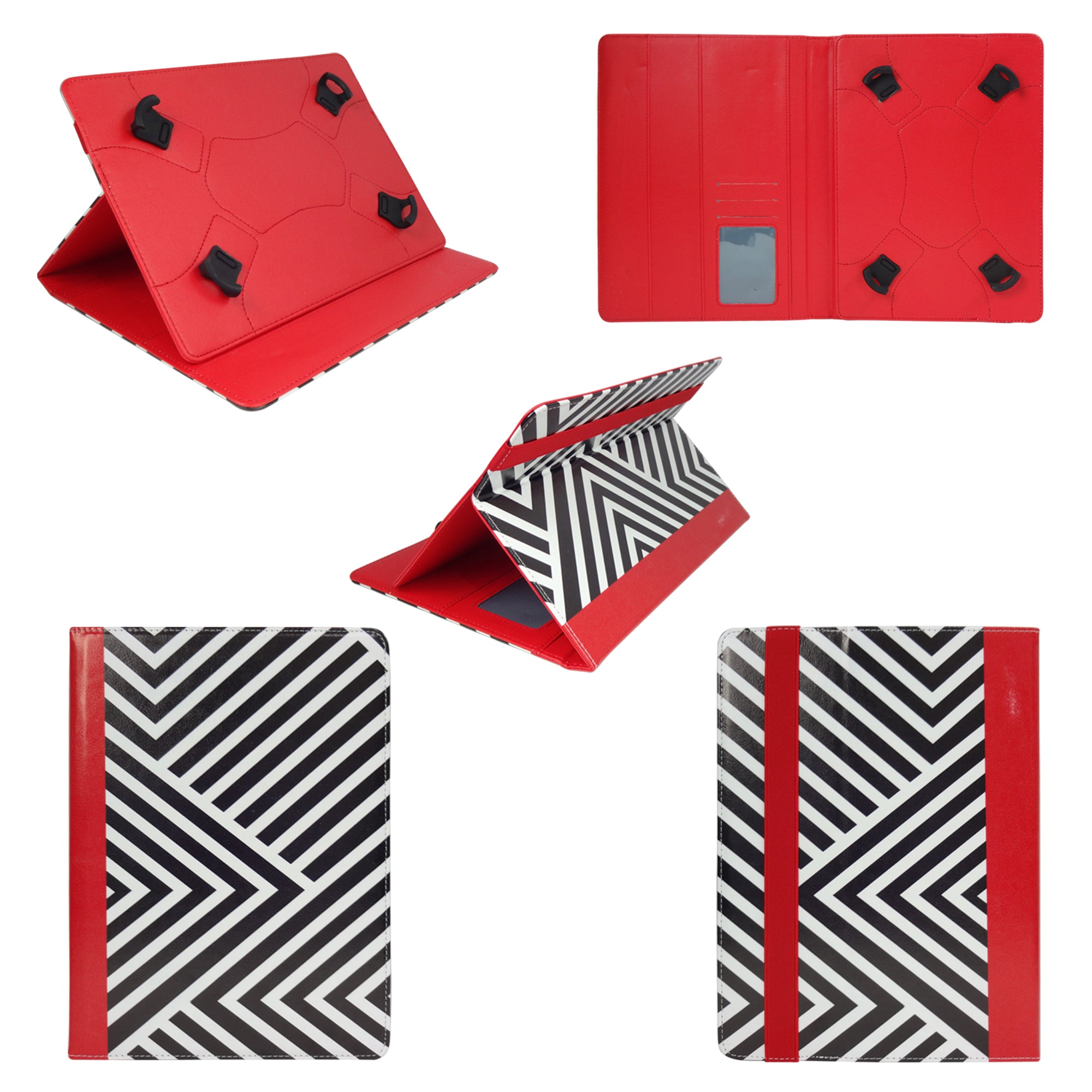 Universal Tablet Case - Black / Red Stripes