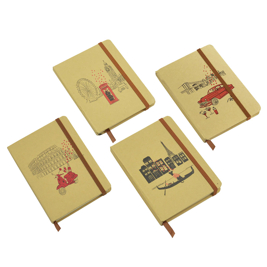 A5 Cities Diary - Brown Set of 4