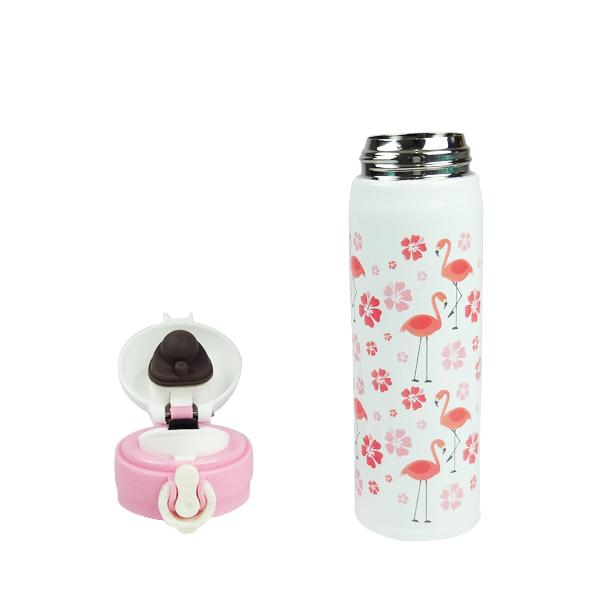 Flamingo Flask - White Flowers