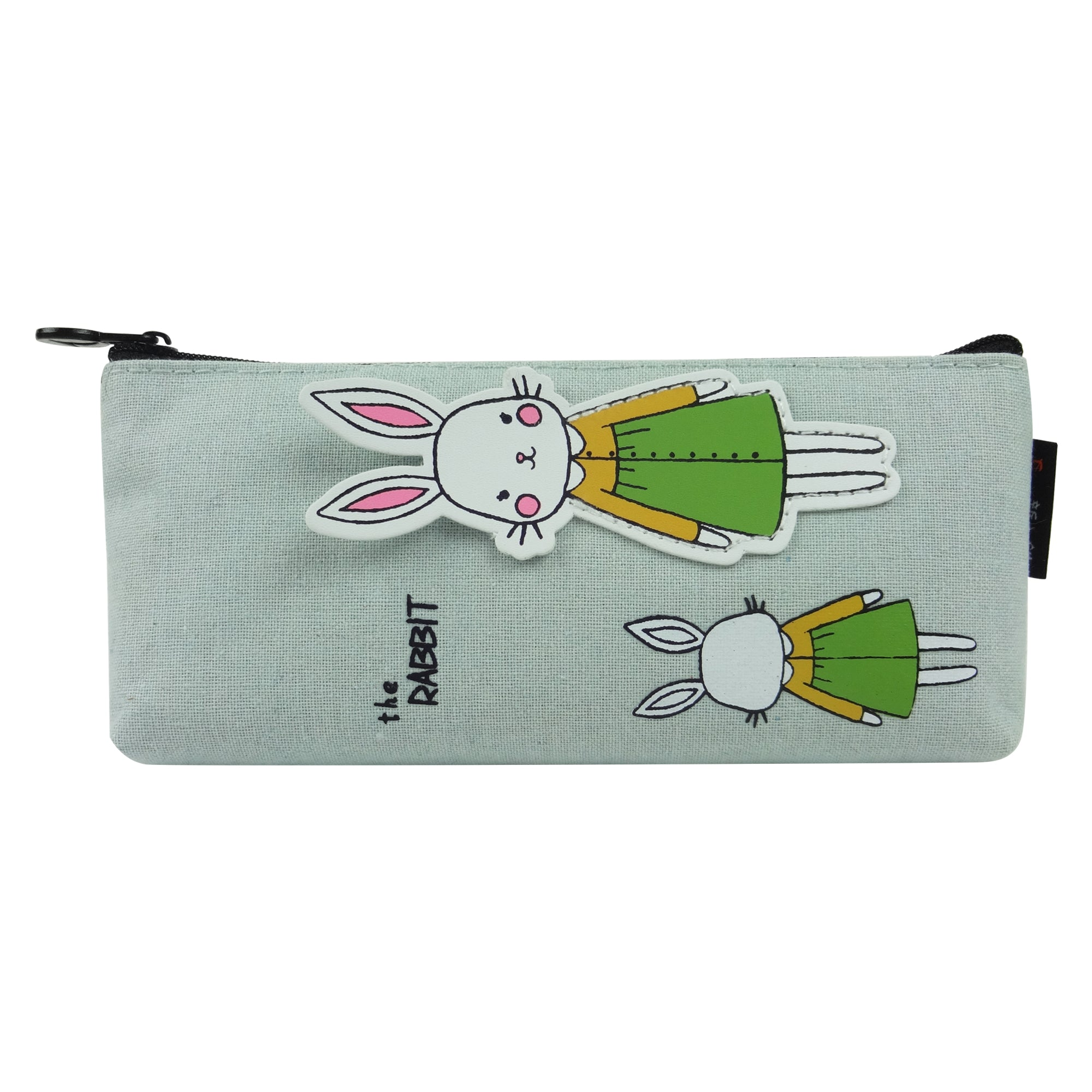 Fabric Pencil Case - Mamma Baby Rabbit Green