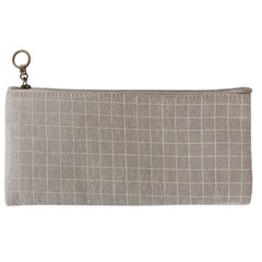 Small Multipurpose Fabric Pouch - Light Brown Checks