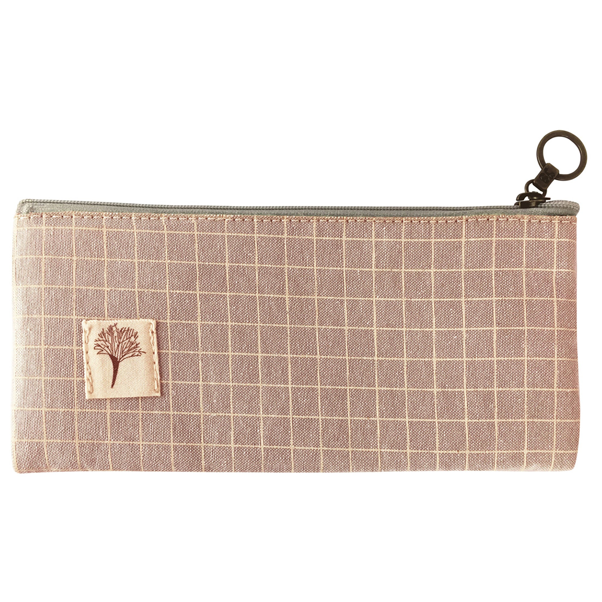 Small Multipurpose Fabric Pouch - Light Pink Checks