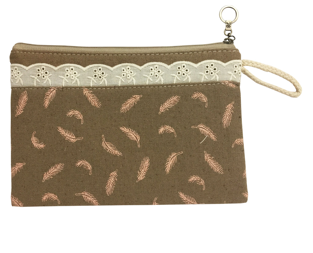 Set of 2 Travel Pouch - Brown Feather