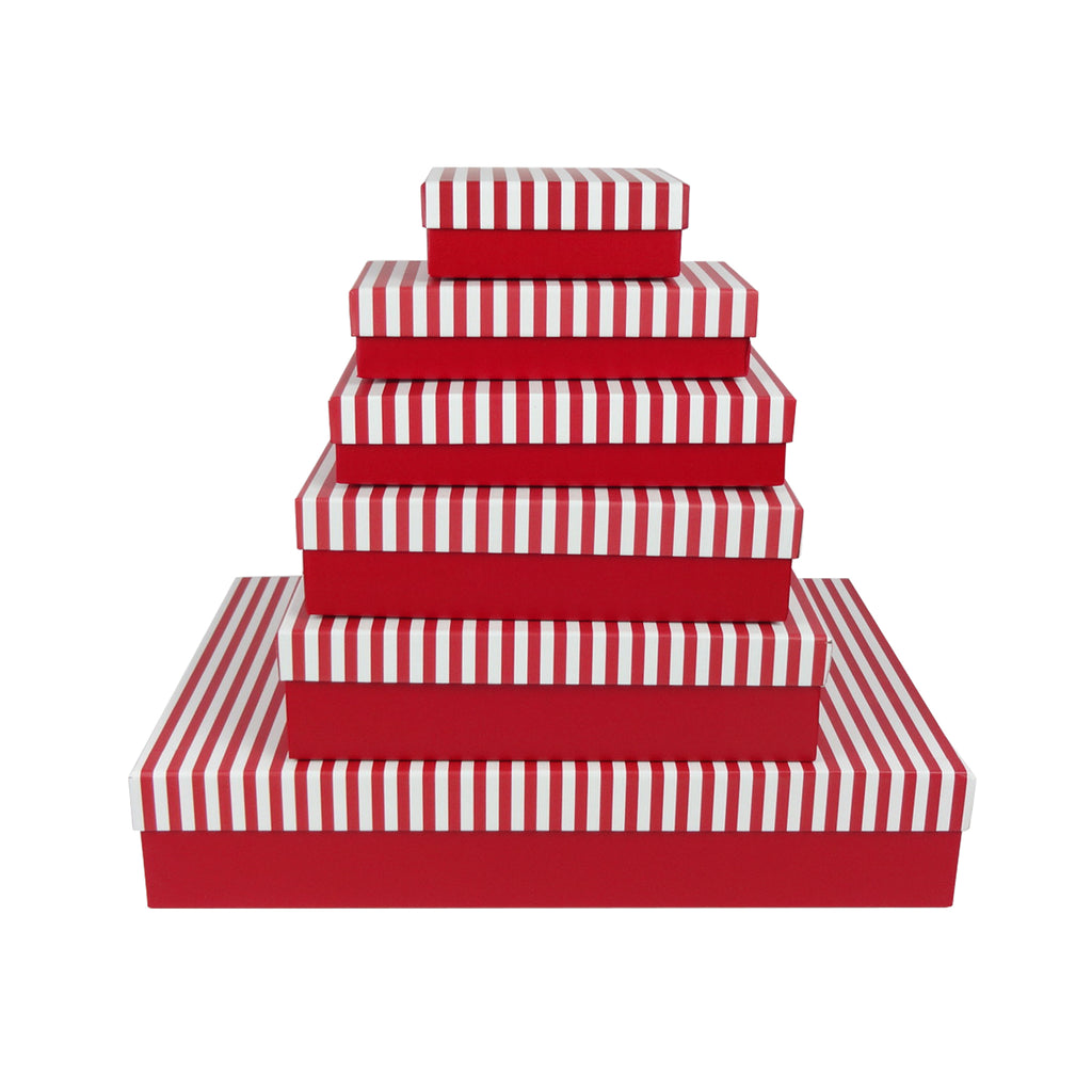 Red & White Horizontal Strip Gift Box - Set of 6
