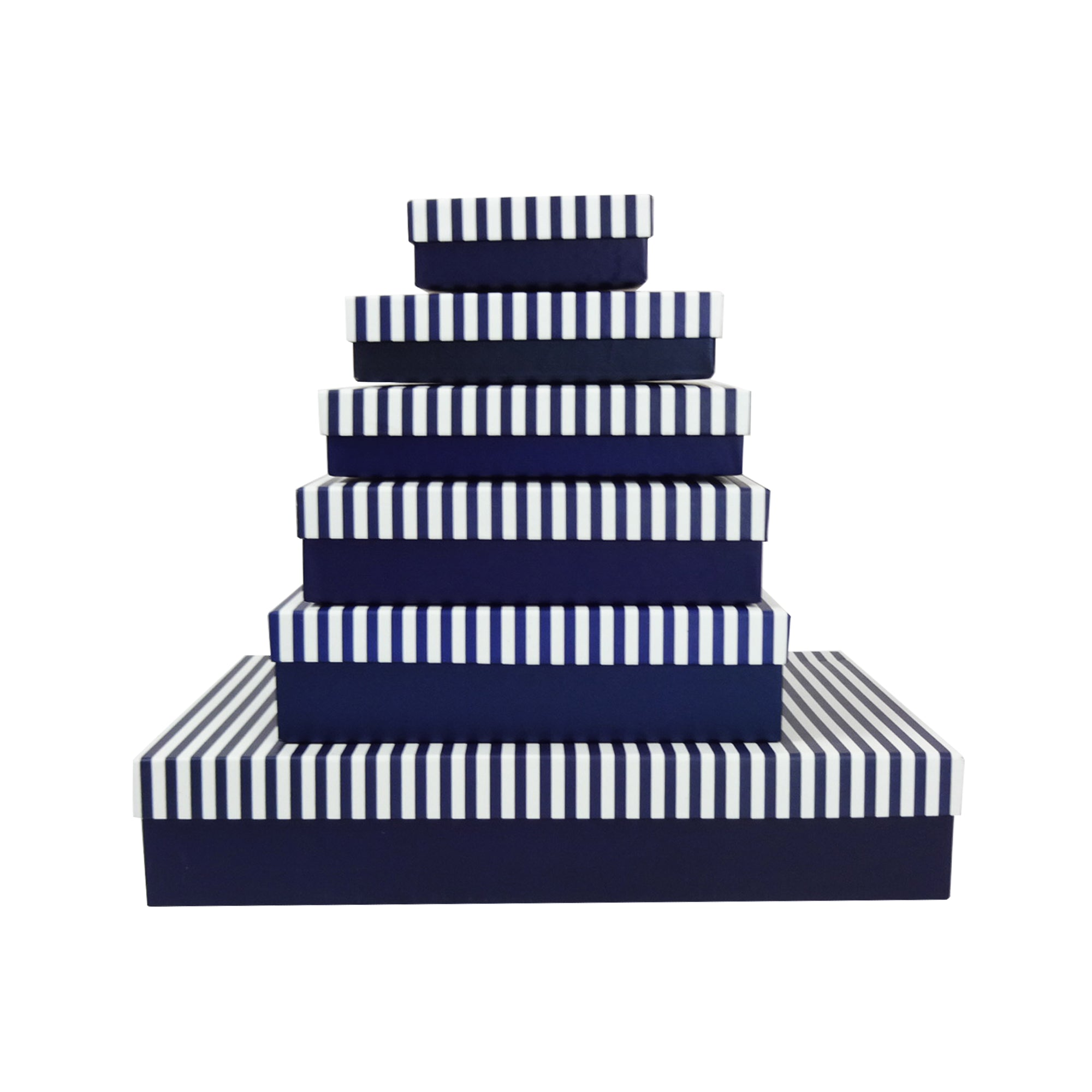 Blue & White Horizontal Strip Gift Box - Set of 6