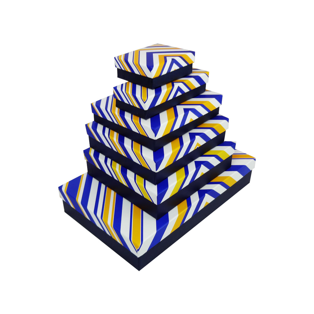Blue & Yellow Strip Gift Box - Set of 6