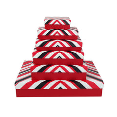 Red & Black Stripes Gift Box - Set of 6