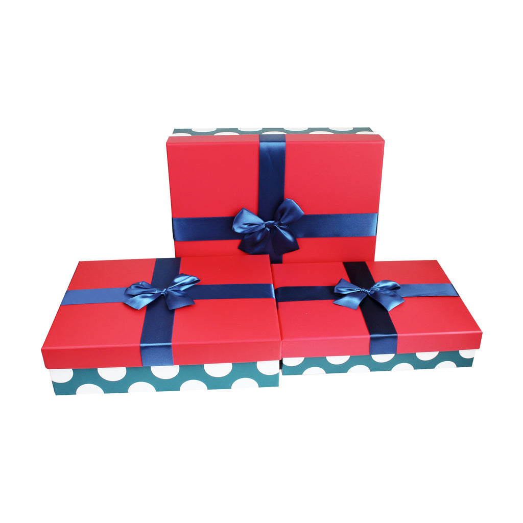 Black Polka Bottom Rectangle Gift Box - Set of 3