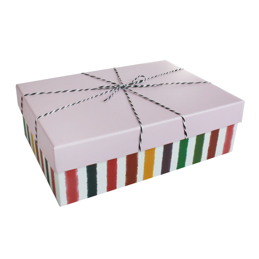 Multicolored Stripes Rectangle Gift Box - Set of 3