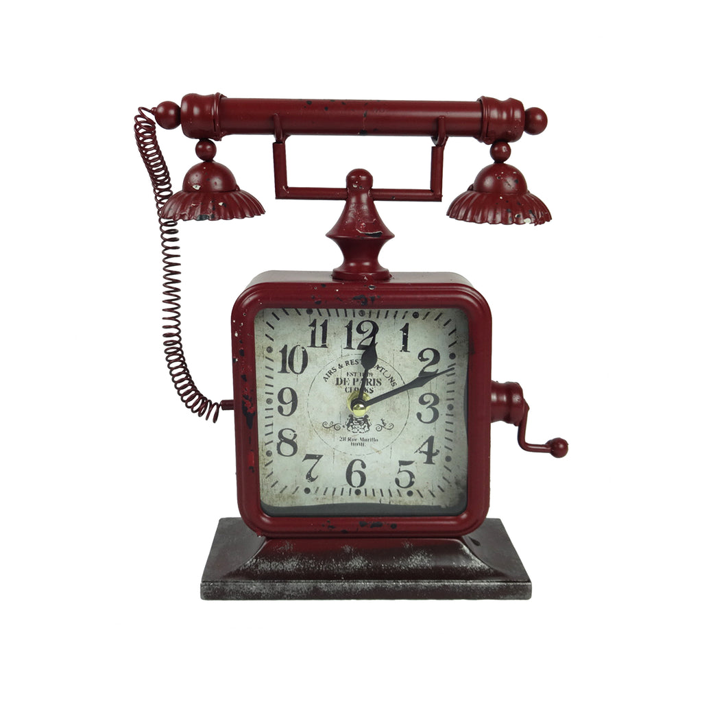 Telephone Clock - Red