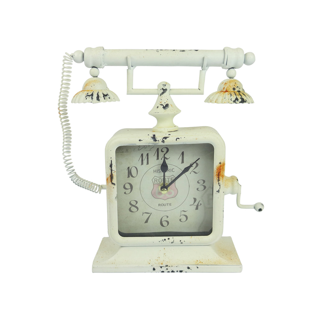 Telephone Clock - White