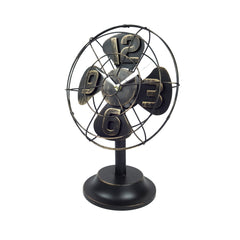 Table Fan Clock - Black
