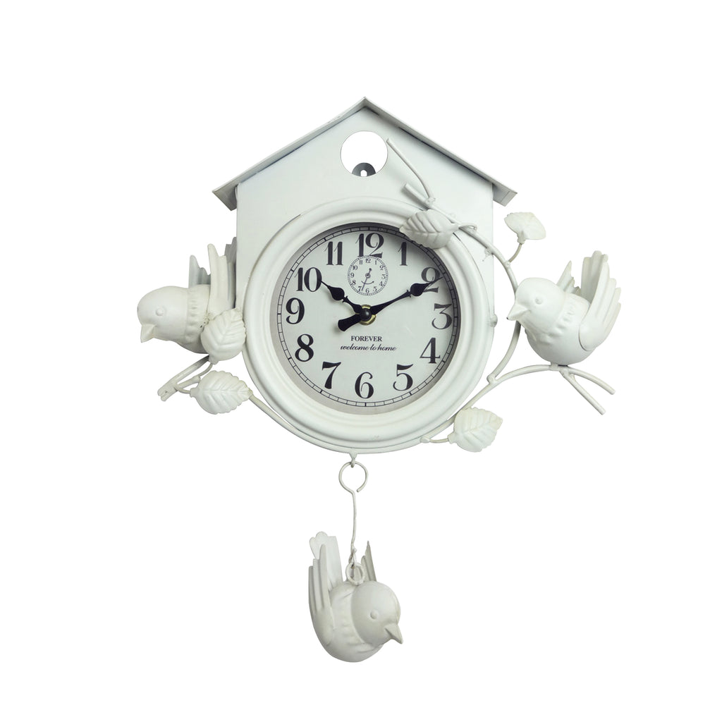 Bird House Clock - White