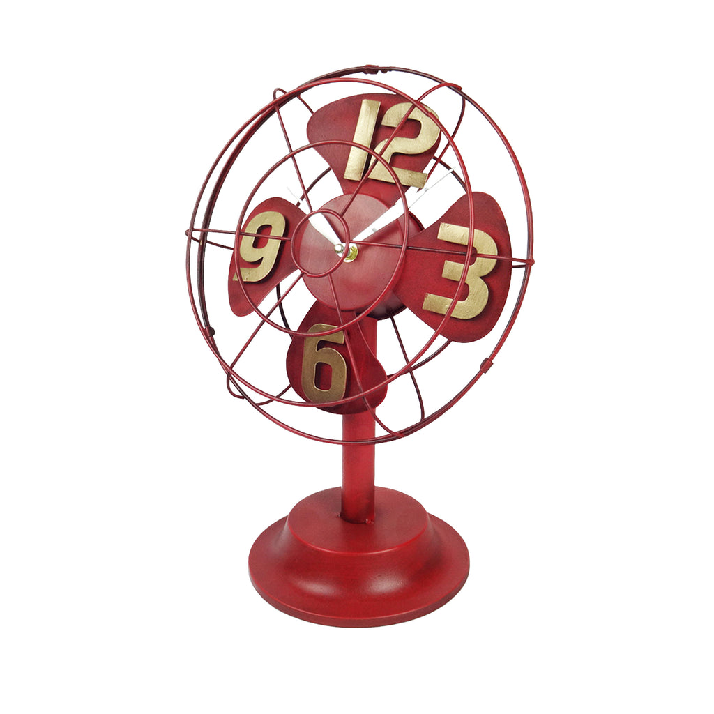 Table Fan Clock - Red