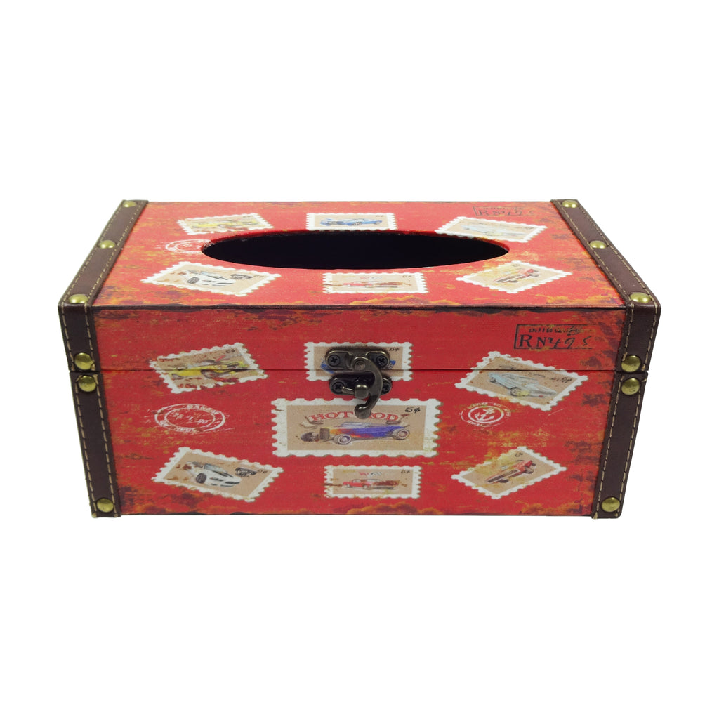 Retro Tissue Box - Stamps Red
