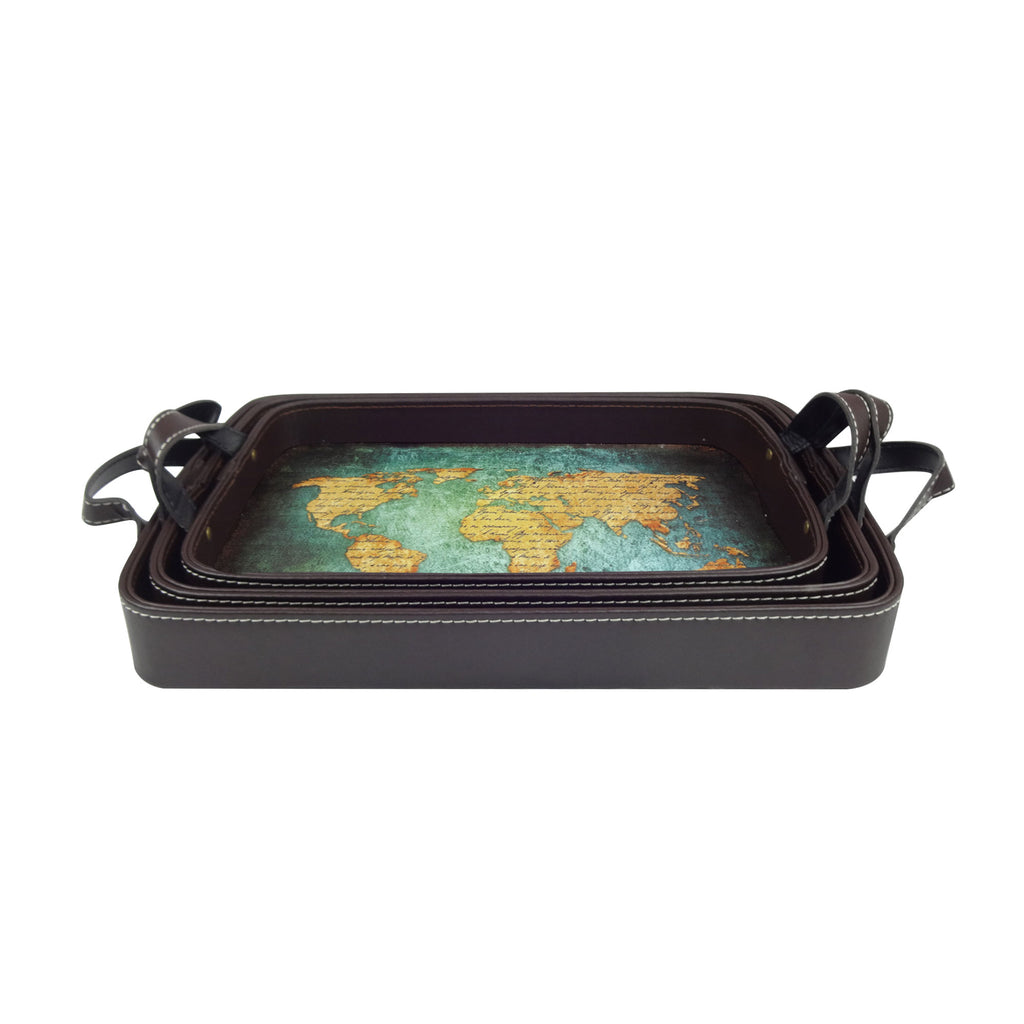 World Map Tray - Set of 3