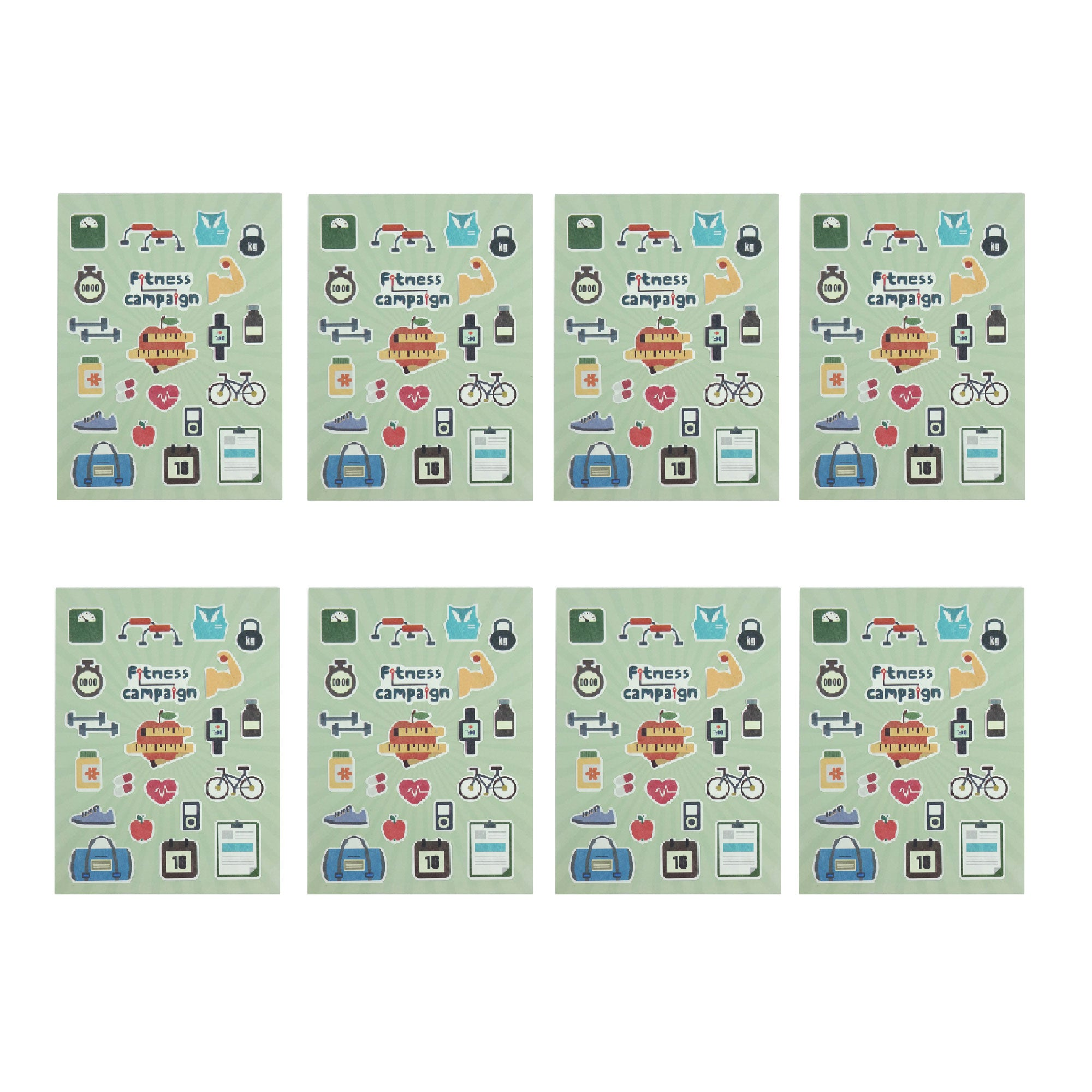 Fitness Compaign Stickers - Set of 8