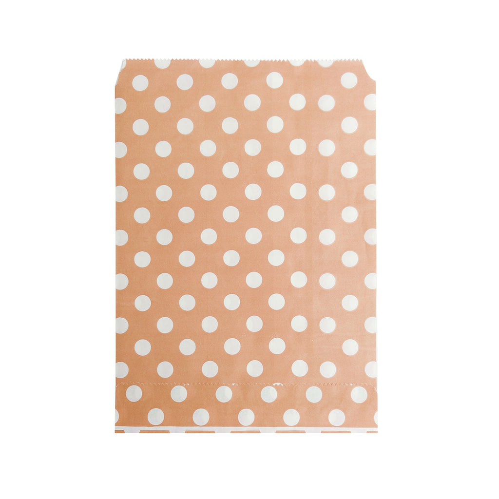 Big Peach Polka Paper Bag - 100 pcs