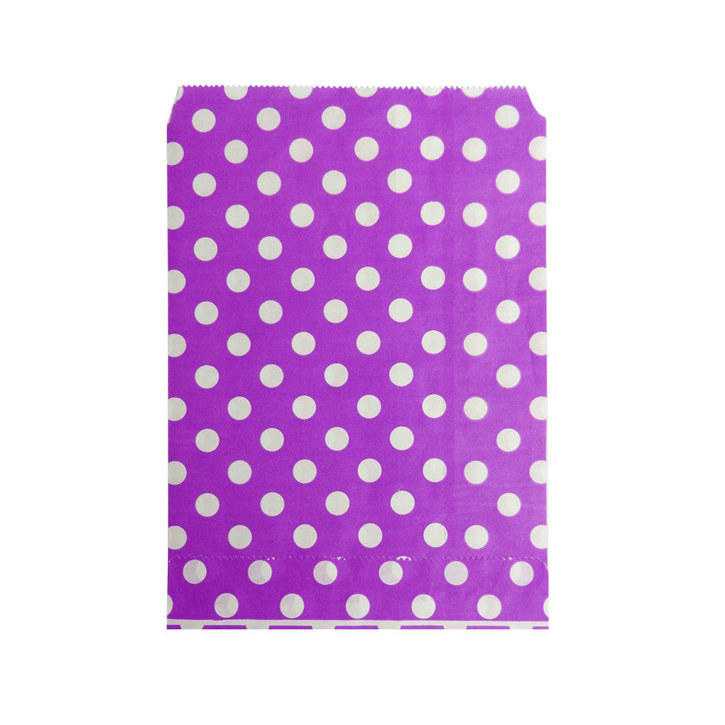 Big Purple Polka Paper Bag - 100 pcs