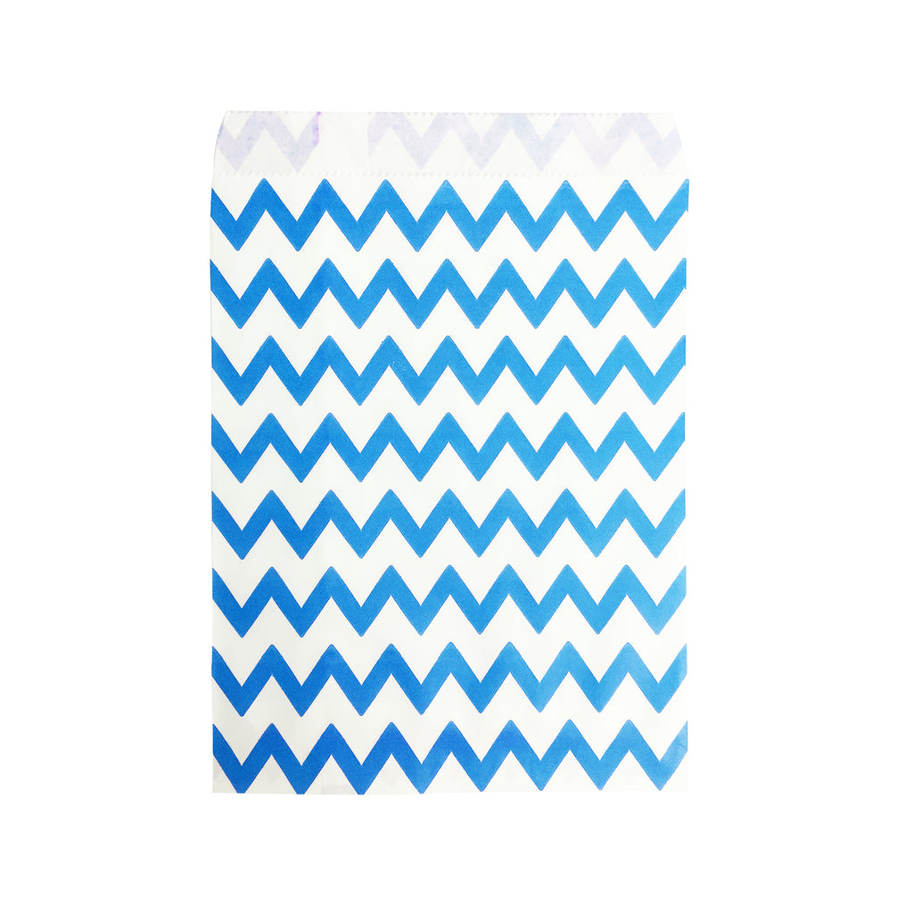 Big Blue Zigzag Paper Bag - 100 pcs