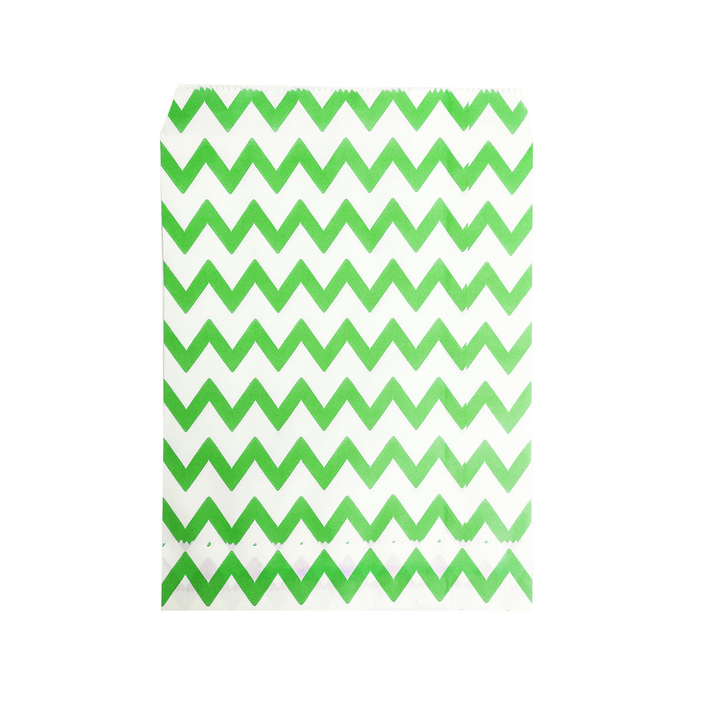 Big Green Zigzag Paper Bag - 100 pcs