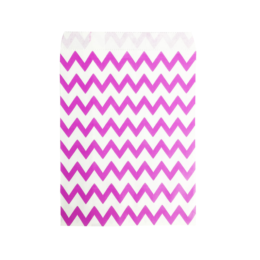 Big Pink Zigzag Paper Bag - 100 pcs
