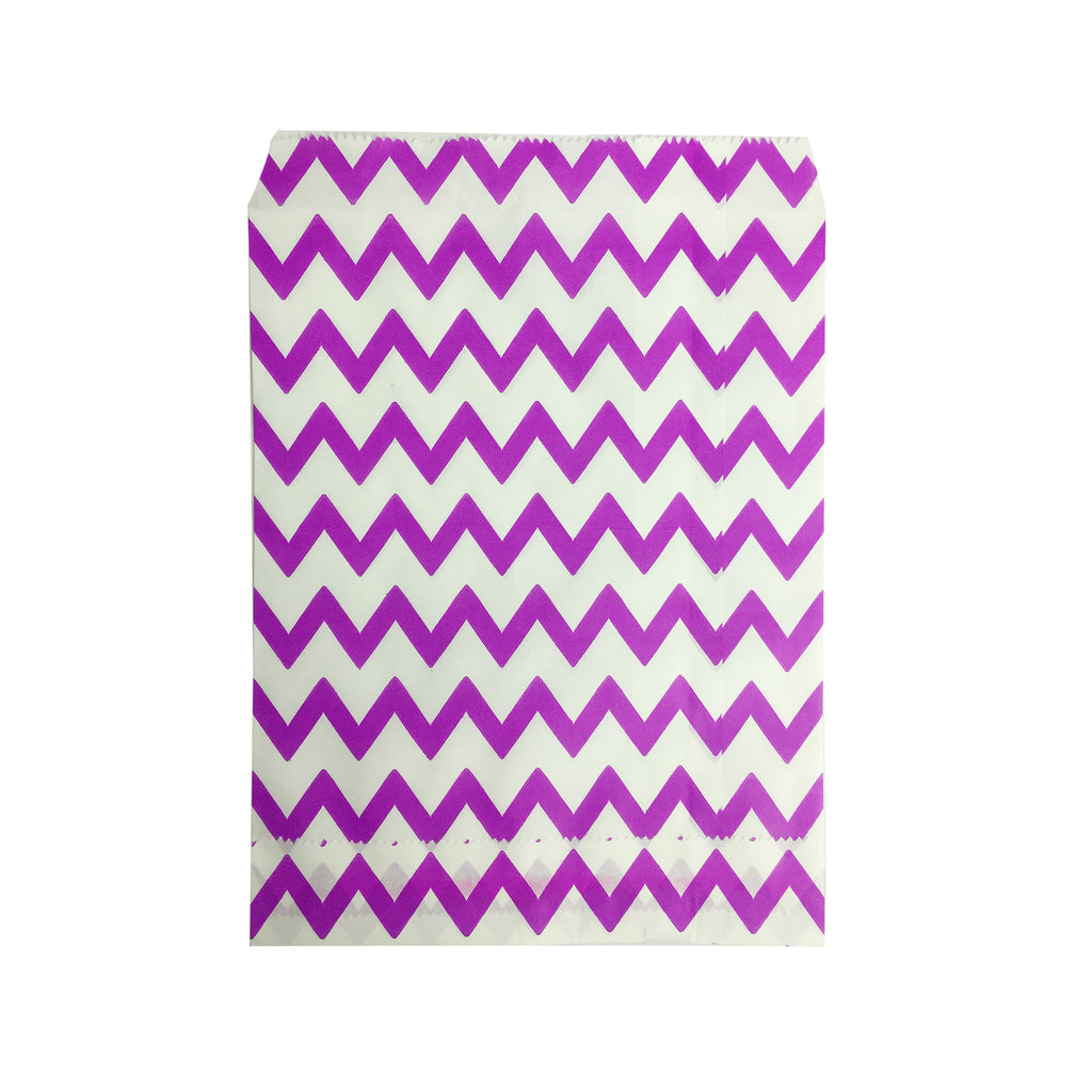 Big Purple Zigzag Paper Bag - 100 pcs
