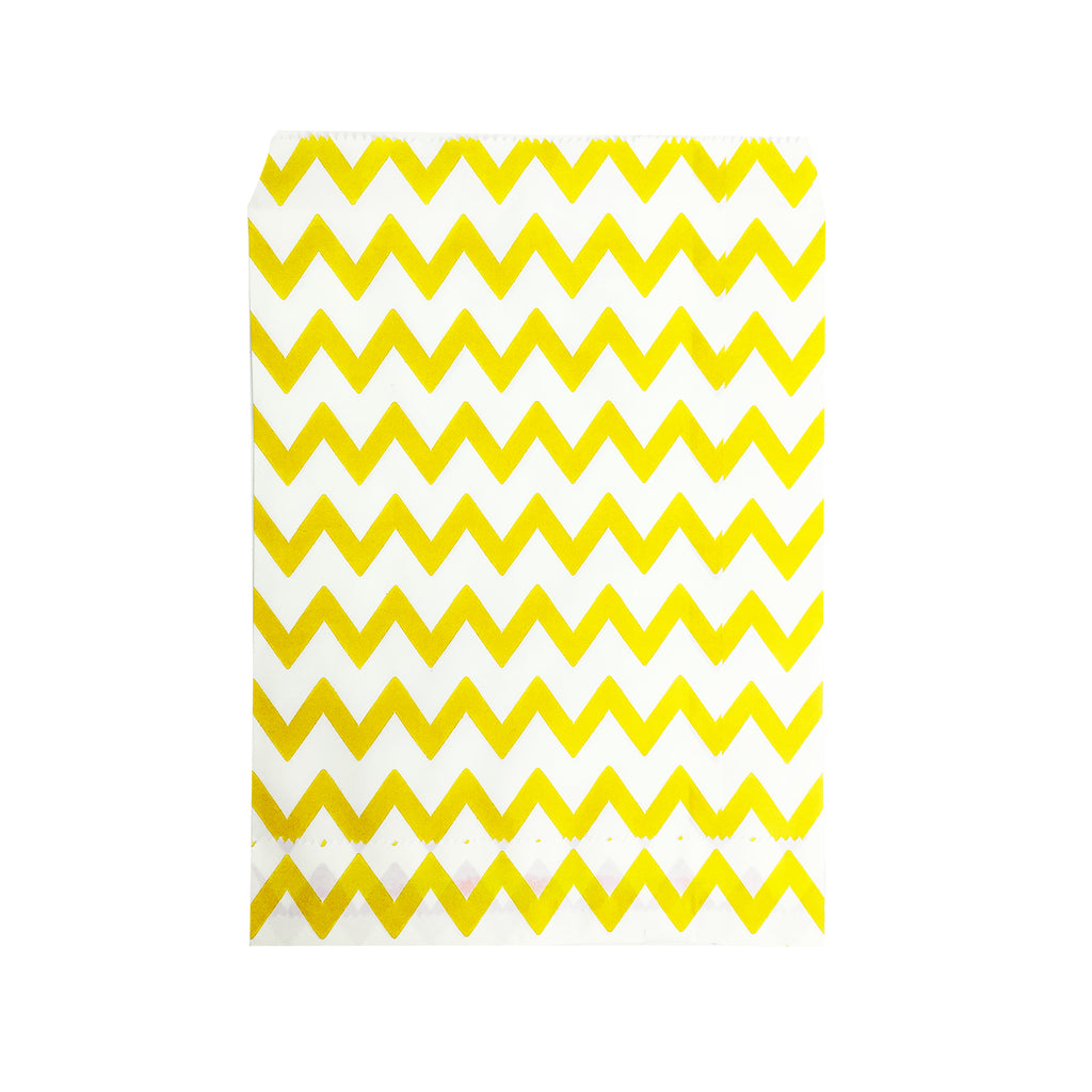 Big Yellow Zigzag Paper Bag - 100 pcs