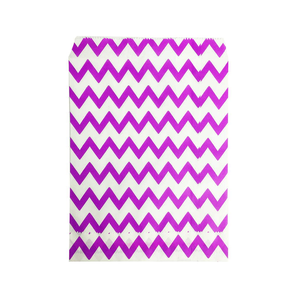 Small Purple Zigzag Paper Bags - 100 pcs