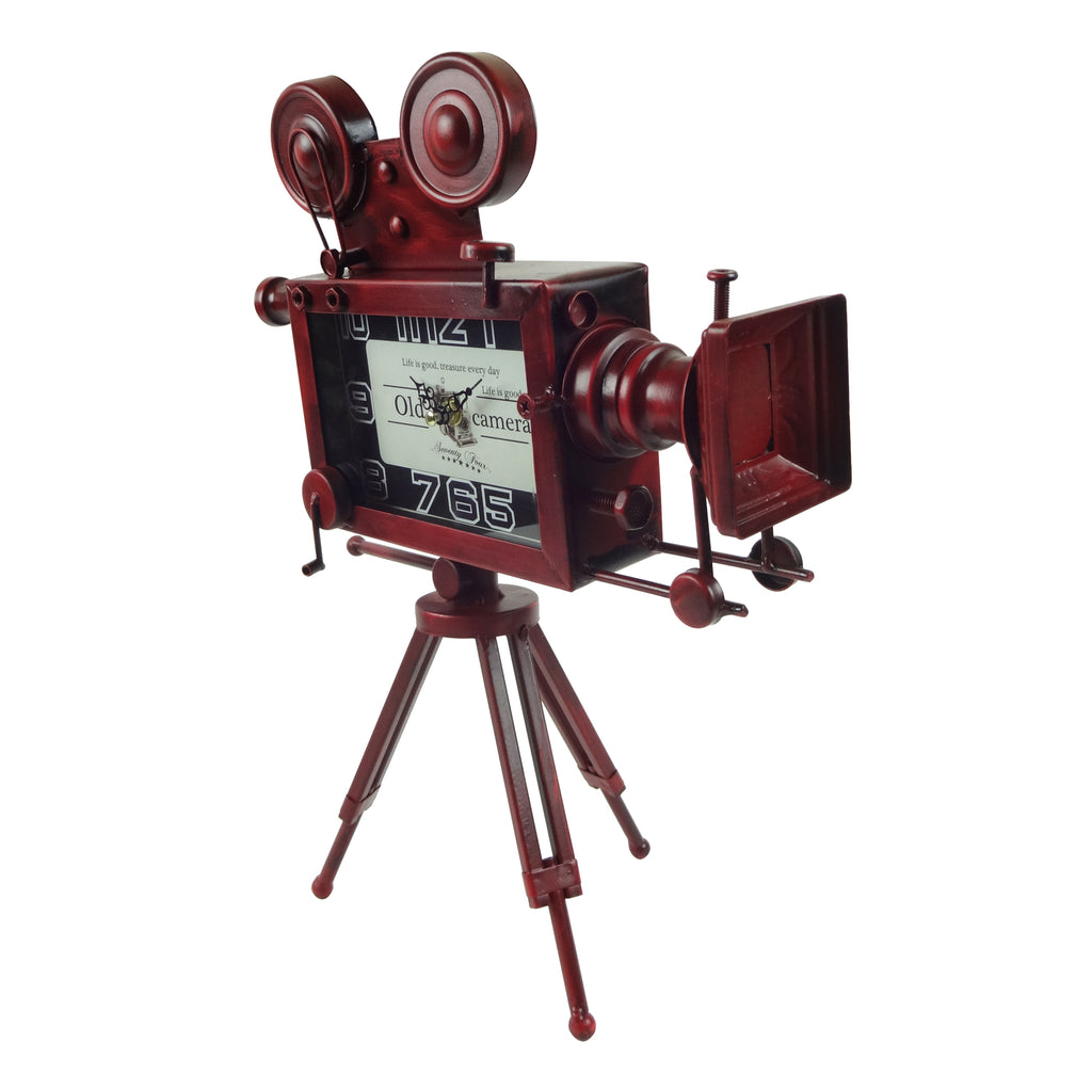 Metal Table Clock - Video Recorder Maroon
