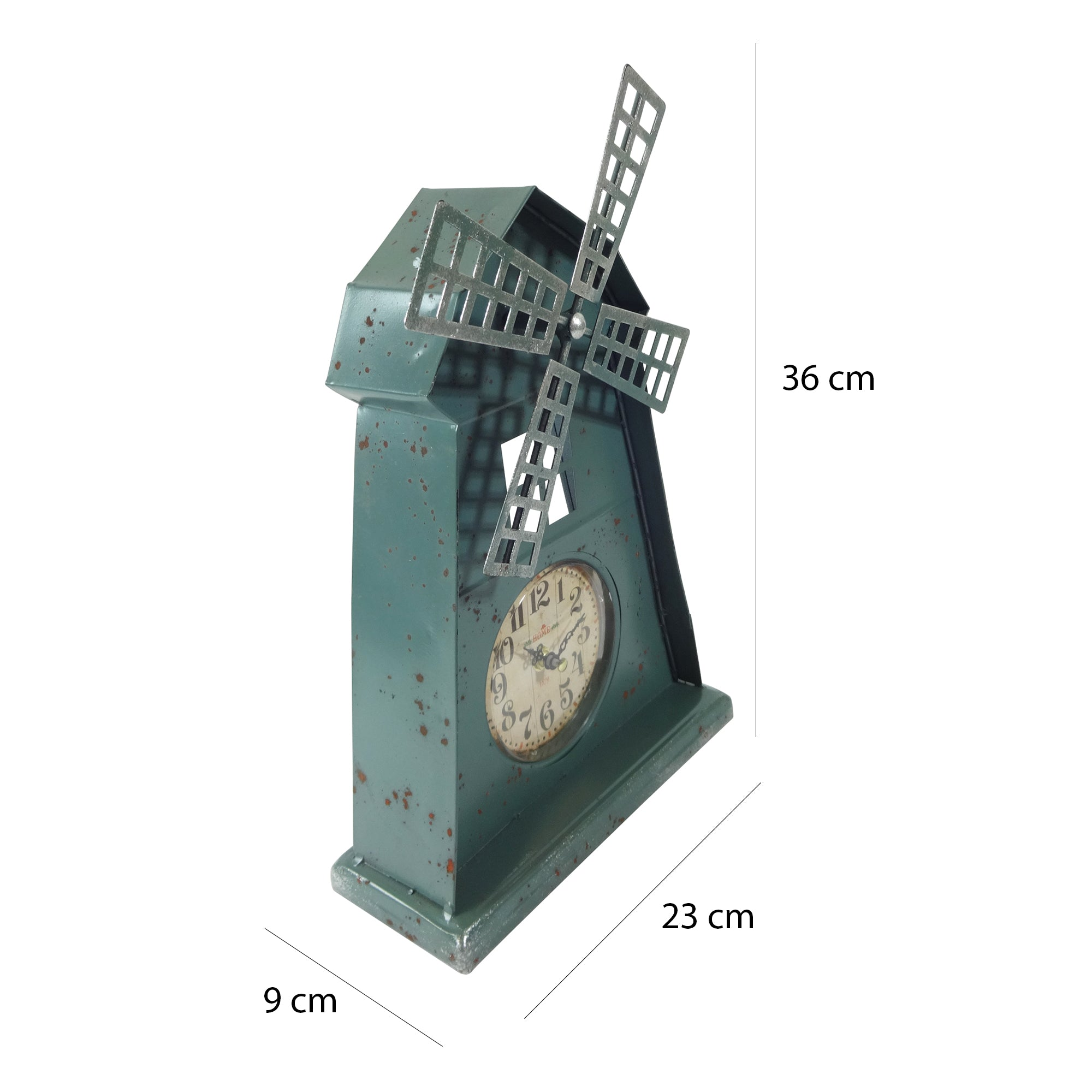 Metal Table Clock - Windmill Turquoise