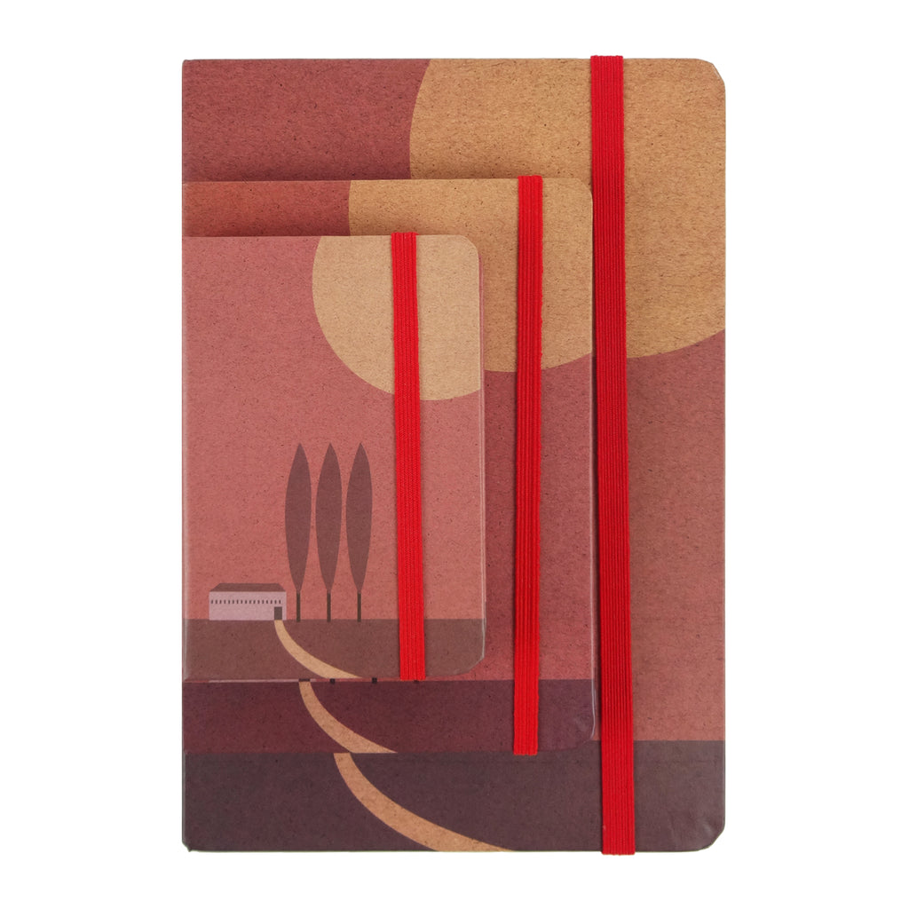Landscape Red Three Trees - Set of 3
