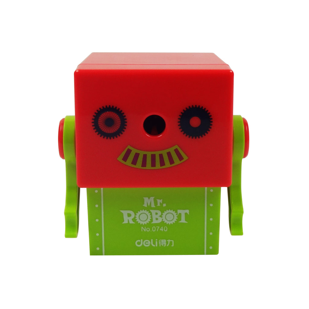 Plastic Pencil Sharpener - Smiling Mr. Robot Green