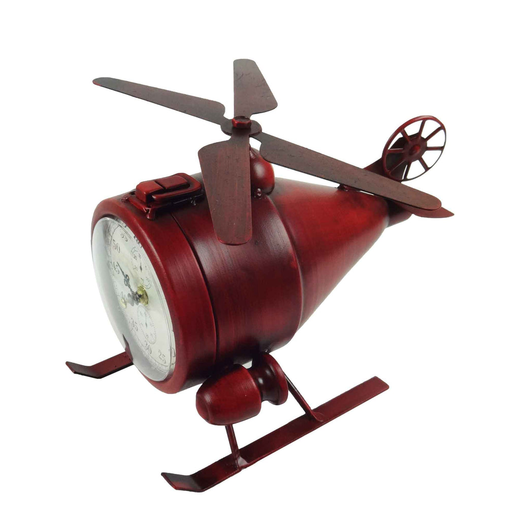 Helicopter Table Clock - Red