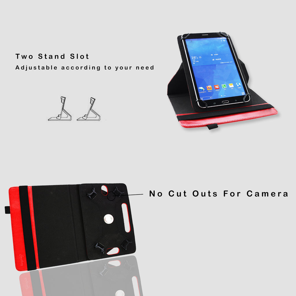 360° Rotating Universal Tablet Case - Red Plain