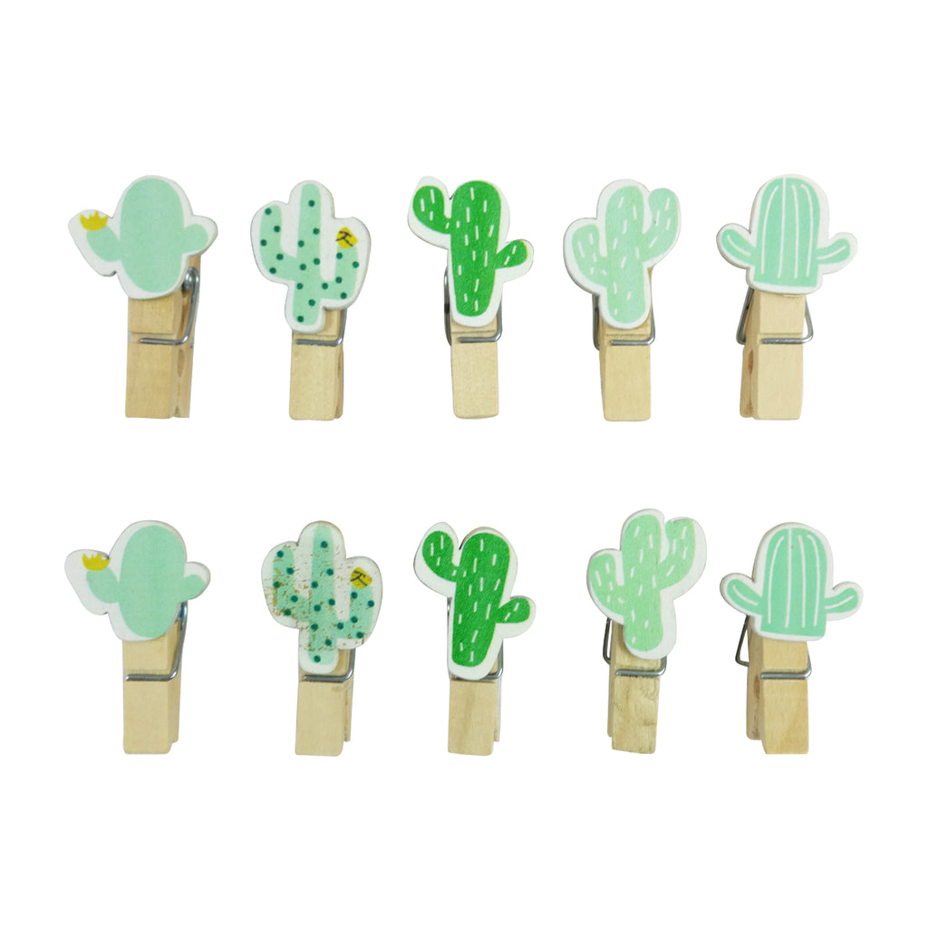 Wooden Clips - Cactus