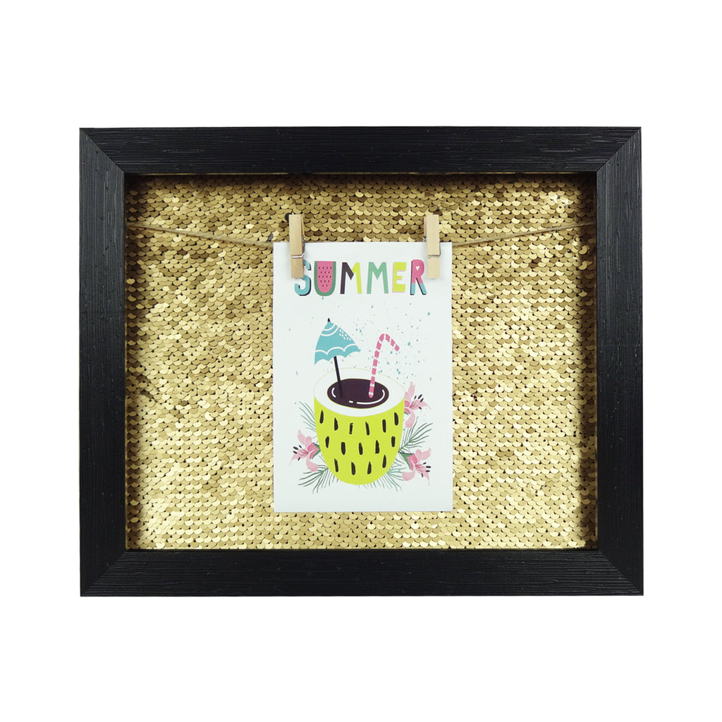 Small Sequin Photo Frame - Gold