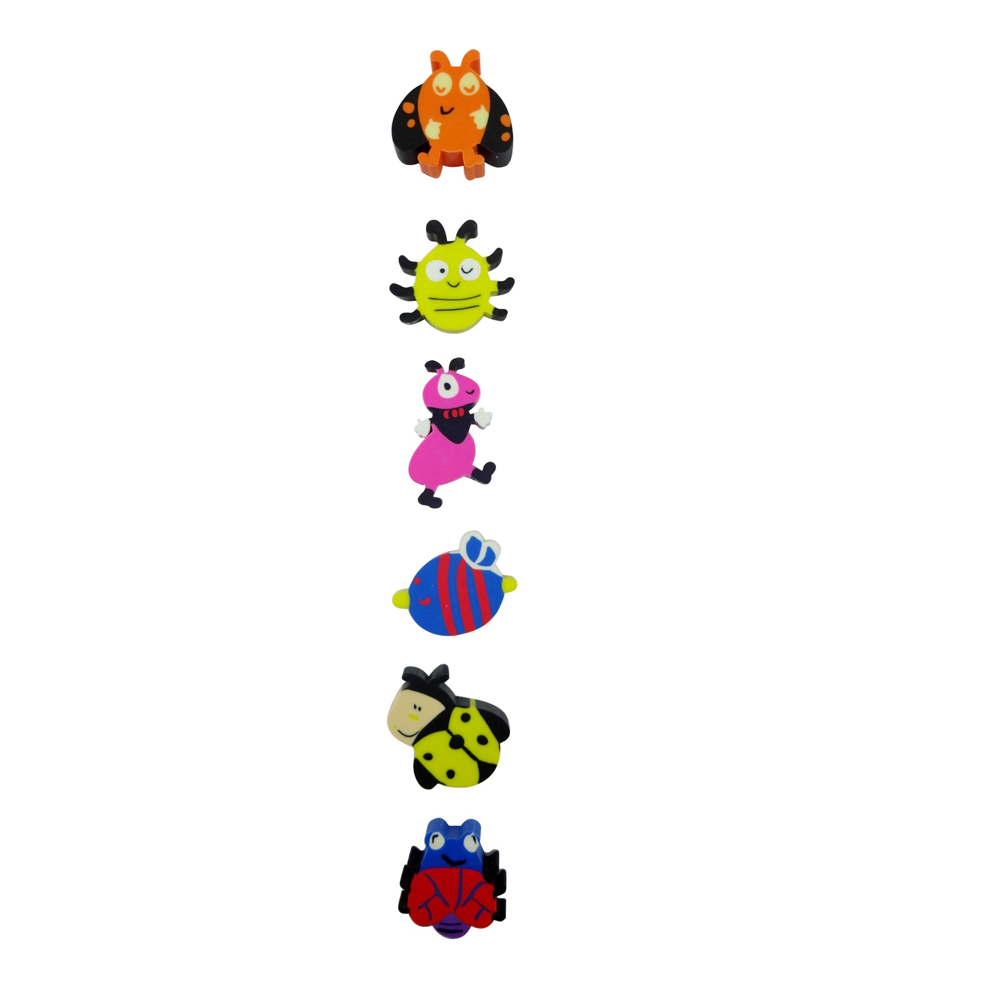 Silly Bugs Erasers - Set of 6 Pink