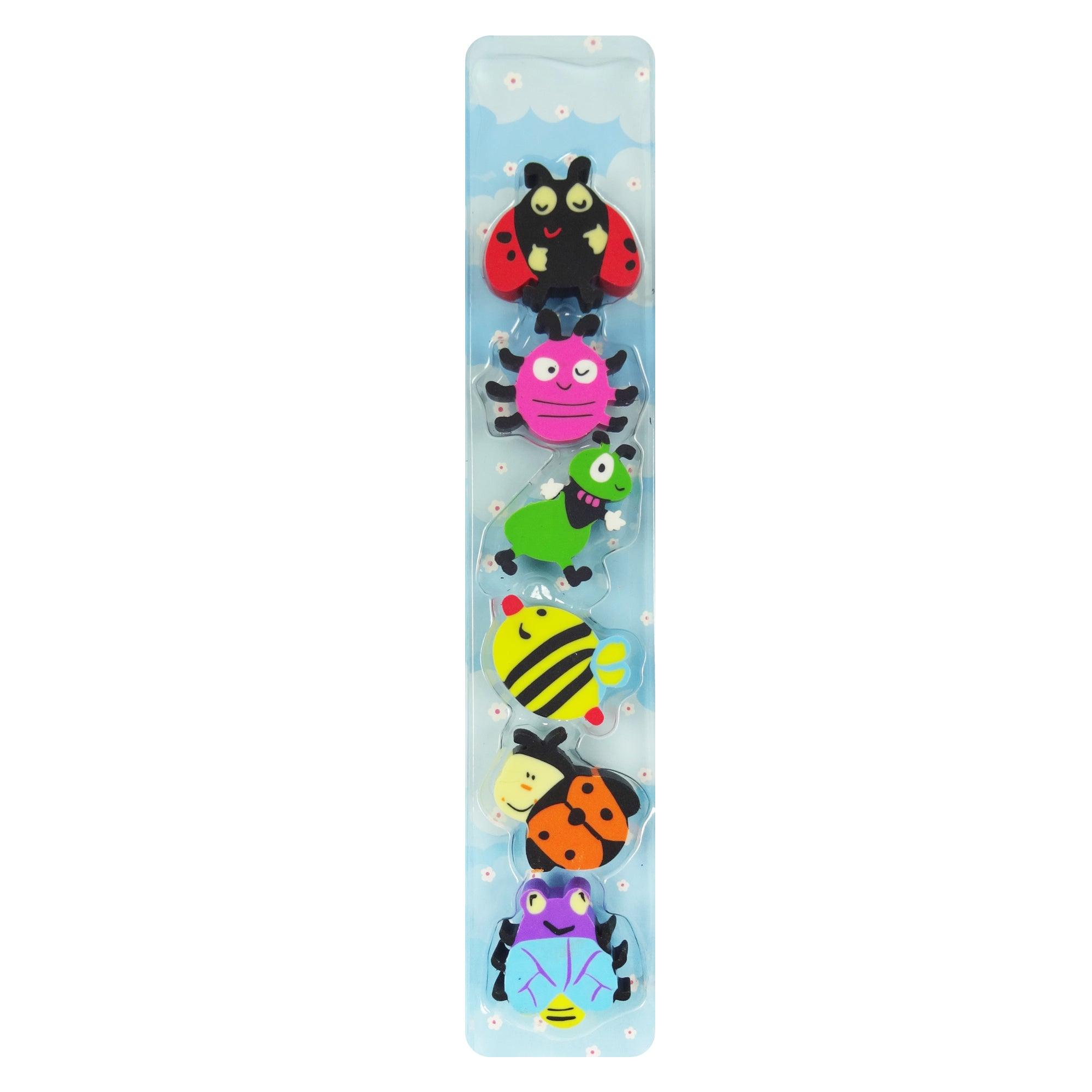 Silly Bugs Erasers - Set of 6 Blue