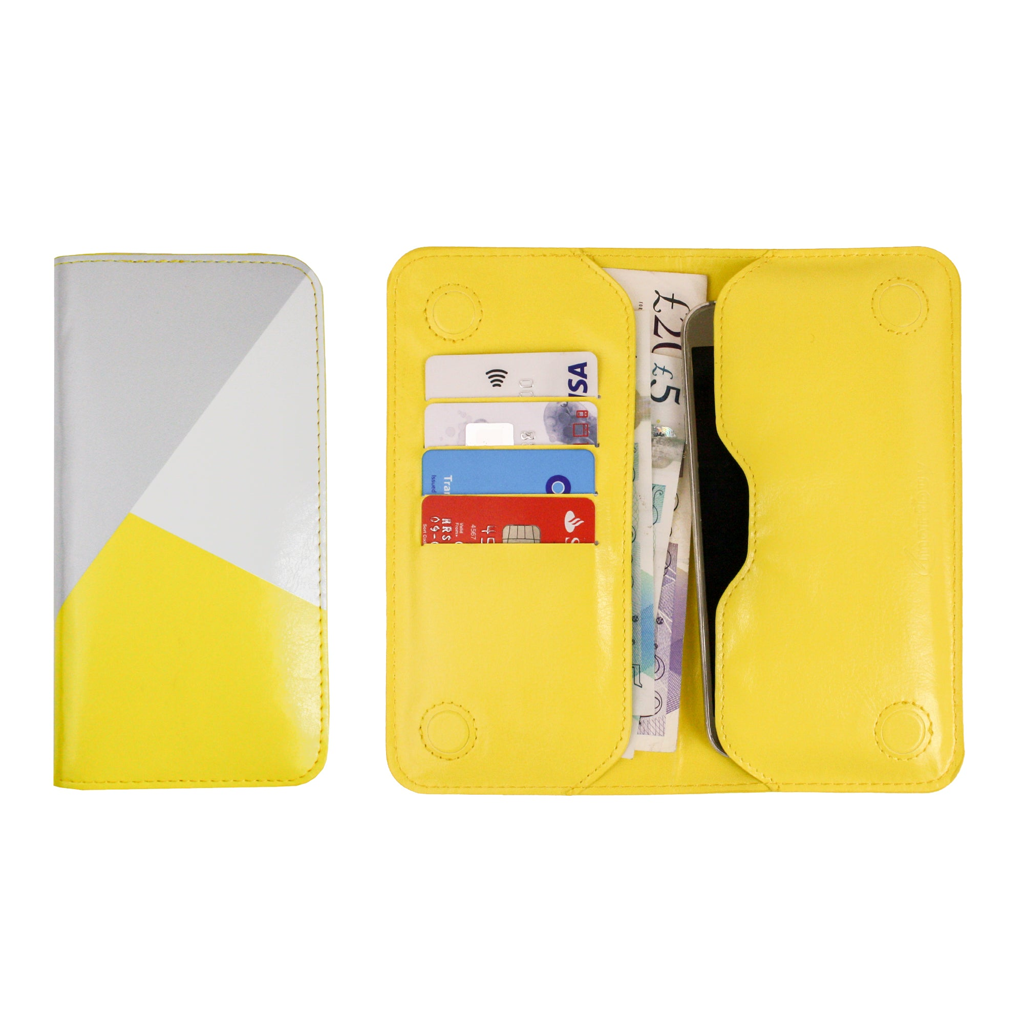 MAGNETIC PHONE WALLET - YELLOW/GREY