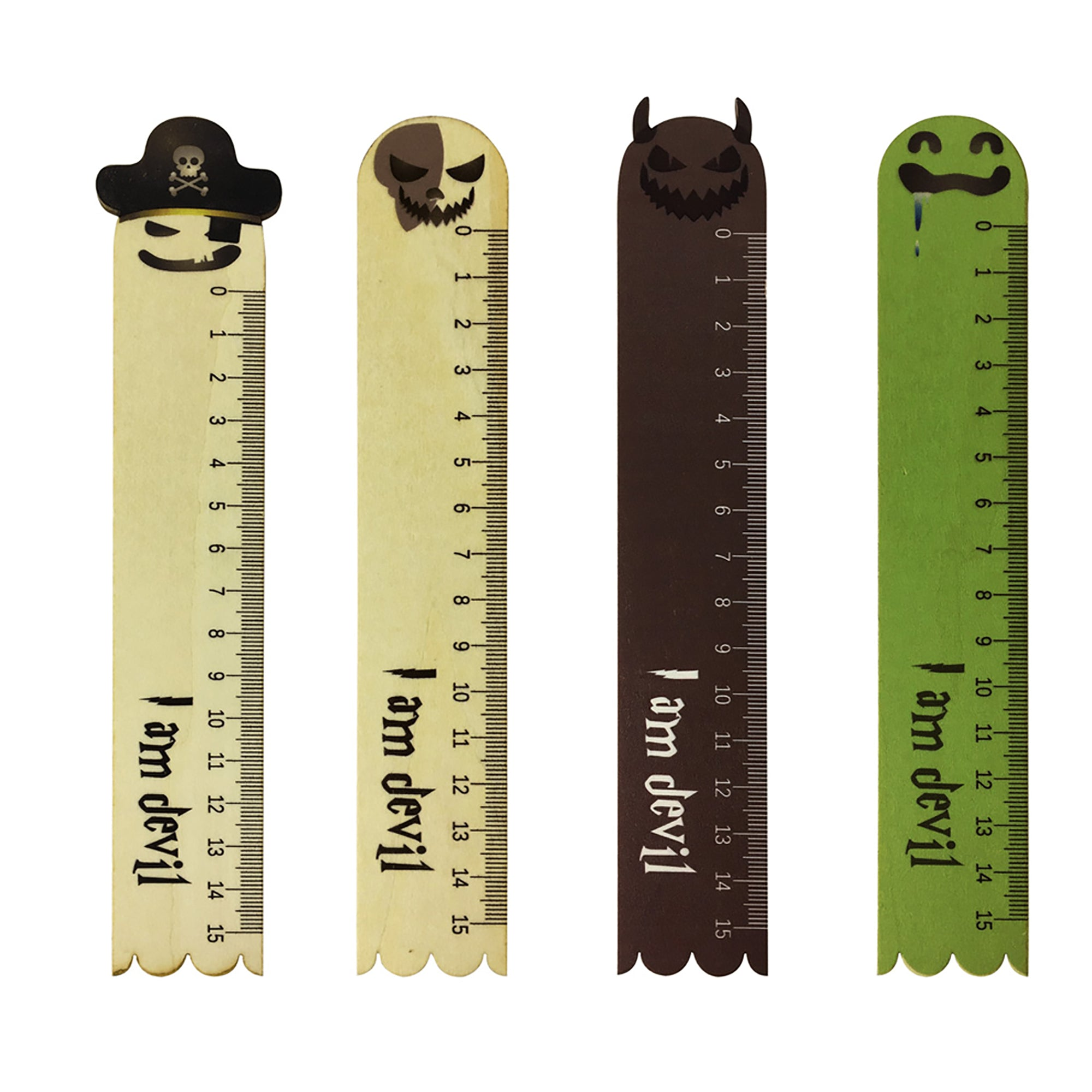 Devil Wooden Ruler - Set of 4