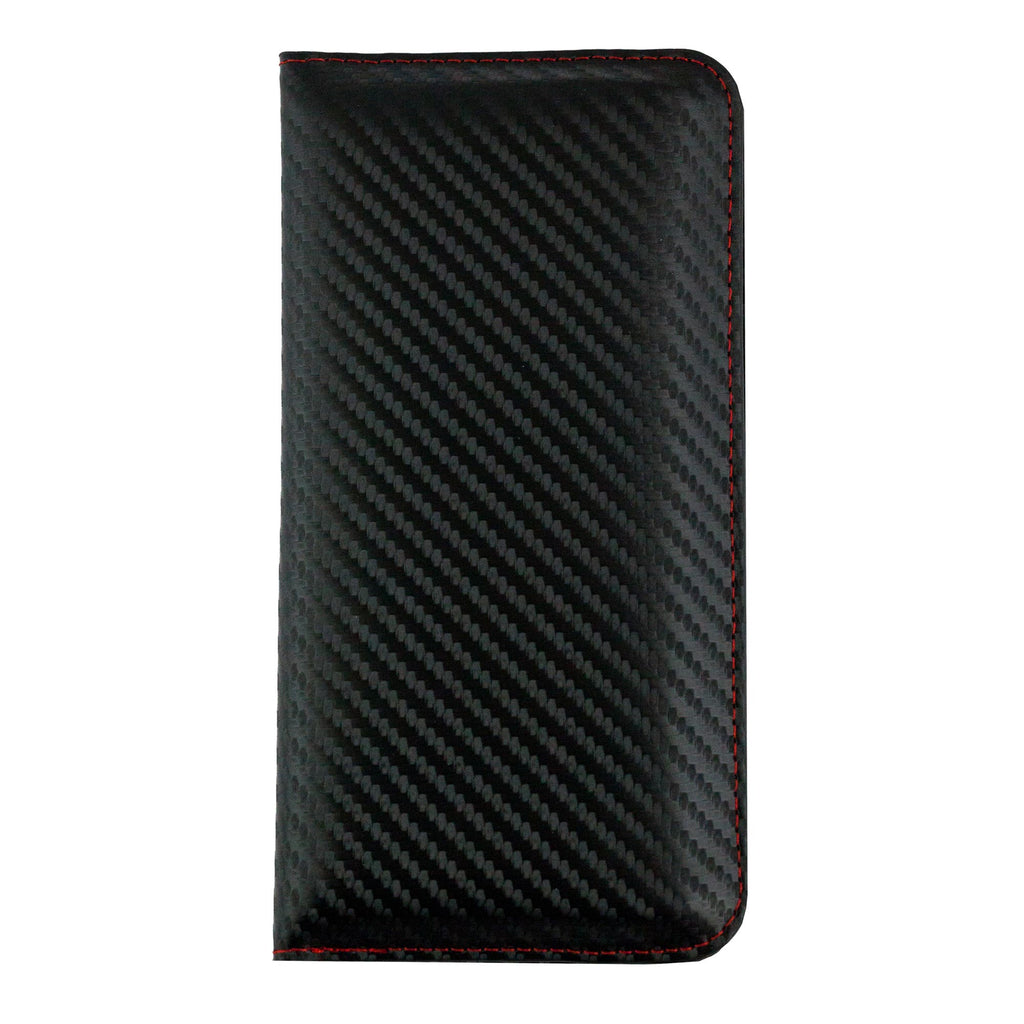 MAGNETIC PHONE WALLET CASE COVER- BLACK/RED CARBON (LM2)
